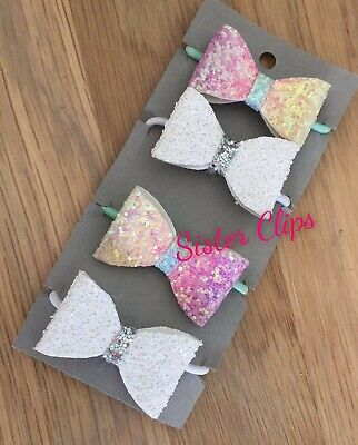 Girls Handmade 4 baby/toddler small cute Glitter Hair Bow bobbles