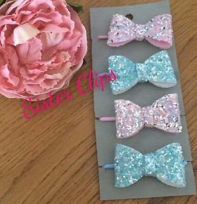 Girls Handmade 4 baby/toddler small blue & pink shine Glitter Hair Bow bobbles
