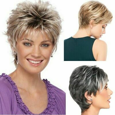 Women Real Natural Short Curly Haircut Ombre Wig Lady Cool Style Party Hair New