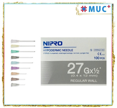 "100 Pcs NIPRO Hypodermic Dispensing Needle 27 g x 1/2"" Regular Wall 0.4 x 12 mm"