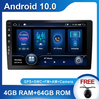 10.1 Zoll Touch Screen Android 10.0 1DIN Autoradio GPS Navi USB BT+Camera+4G+64G