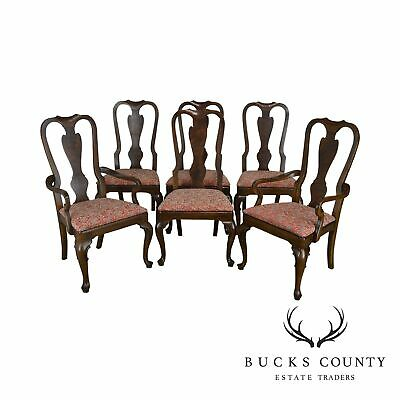 Drexel Heritage Set 6 Mahogany Queen Anne Style Dining Chairs