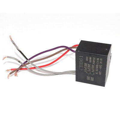 2Pcs CBB61 Electrical Power Relay Connecting Capacitor 4.5uf+6uf+5uf 250V 5 Wire
