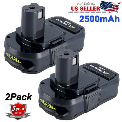 2500mAh For Ryobi 18Volt One+ Plus Lithium Battery P102 P104 P105 P107 P108 2Pcs