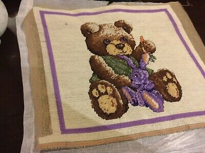 Choice of 2 finished unframed tapestry work: Bear 38x33cm or garden 35x28cm VGUC