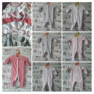 100% Next Baby Girl Sleepsuits Bundle Size Newborn & up To 1 Month