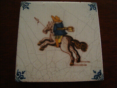 Antique Delft Polychrome Ceramic Tile - Man on Horseback with spear  20/166