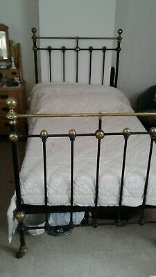 Victorian Antique Metal And Brass Single Bed