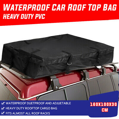 Waterproof Car Roof Top Bag Travel Cargo Luggage Carrier Black 160x100x30cm