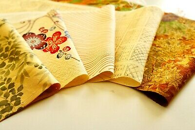 Japanese Kimono Silk Fabric   Quilting Lot 716   remnants pack   Vintage