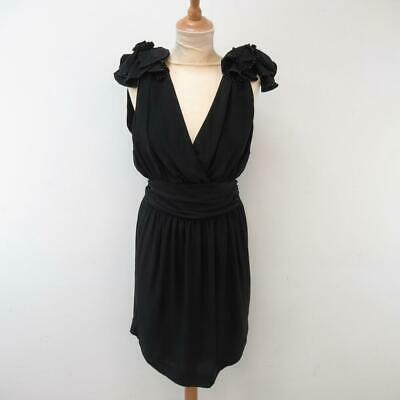 Designer French Connection Black Silk Dress with Beaded Floral Ruffles - Size 10