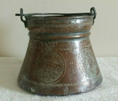 Antique Middle Eastern Persian Islamic Engraved Copper Bucket Pot