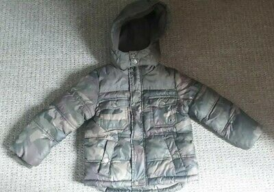 12-18 Month Baby Boy Jacket Army Print zip up hood fleece lined warm camouflage