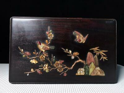 """7"""" Old Sandalwood wooden handcarved Mosaic shells flowers birds Jewelry box"""