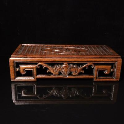 """14"""" Chinese antique huanghuali wood handcarved Bamboo and bat Table statue"""
