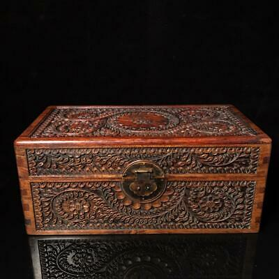 "16"" Chinese antique huanghuali wood handcarved interlock branch Jewelry box"