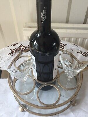 Vintage Silver Plated Wine Bottle And Glass Tray