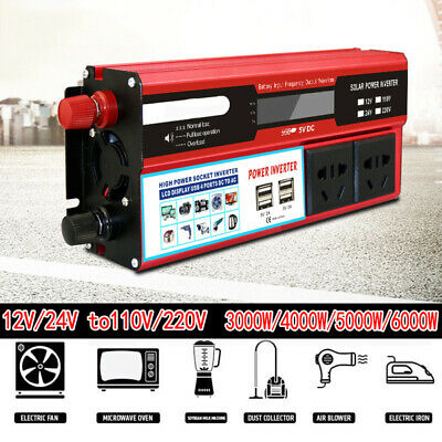 3000-6000W Solar Power Inverter DC12/24V to AC110V/220V Car Sine Converter 4 USB