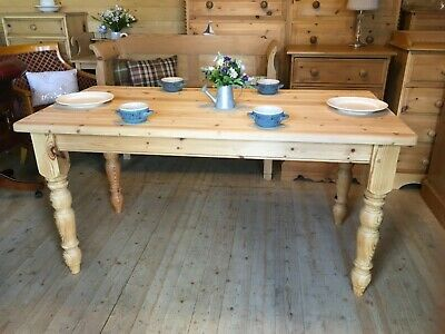 4 - 6 seater Farmhouse rustic solid waxed large wooden pine kitchen dining table
