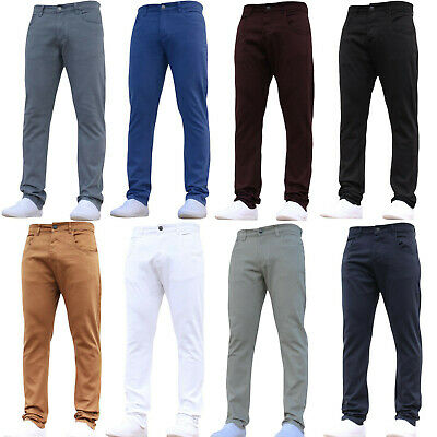 Mens Designer Chinos Stretch Slim Fit Trousers Work Jeans Pants All Waist Sizes