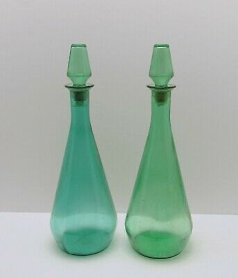 Lot of 2 vintage mid century Green Genie Bottles decanters with stoppers