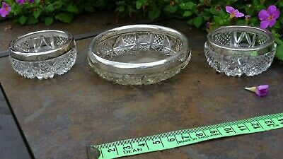 Antique solid silver top cut glass trinket dishes hallmarks