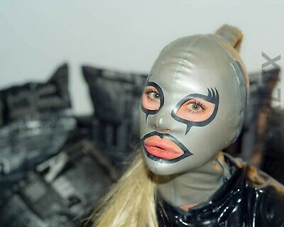 latex rubber fetish hood with ponytail and side zippers sharkLTX size S