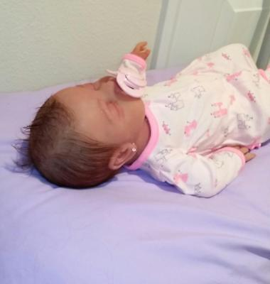 """Full Silicone Painted 19"""" Baby Girl Kenzley With Rooted Hair (Kid Friendly)"""
