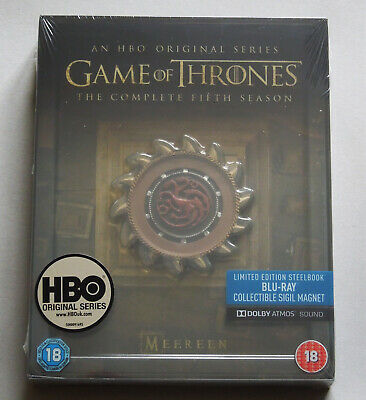 Game Of Thrones Season 5 - Uk Blu-Ray Steelbook Edition With Magnet * New Fifth