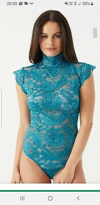 Ann Summers Lipsy Womens Darcia Sleeveless Teal Body High Neck Tie Back 10  NWT