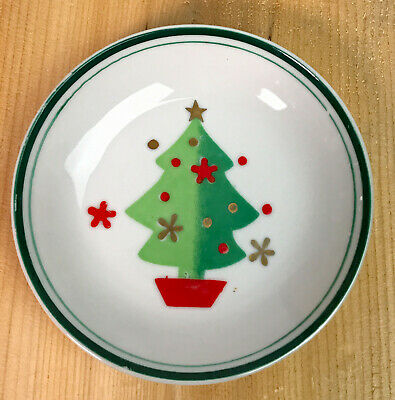 "Vintage Holt Howard 1960 3 3/4"" Small Glass Christmas Dish Plate"