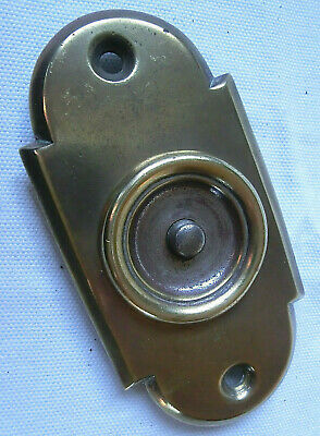Original Reclaimed Antique Brass Door Bell With Arched Detail