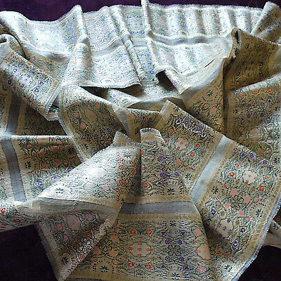 ANTIQUE VINTAGE MIDDLE EASTERN WOVEN SILK BORDER CLOTHING SARI GOWN TRIM 8+metre