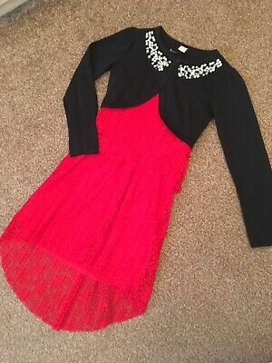 Girls Christmas Party Outfit Age 7 8 Red Dress Black Sparkle Sequinned Cardigan
