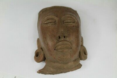 Ethnographical Artifact Pre-Columbian Pottery Mayan Head With Earrings