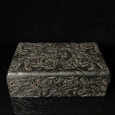 """14"""" qianlong mark China old antique Ebony wooden handcarved dragon pattern box"""