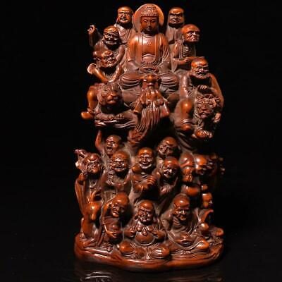 """8"""" Chinese old Antique Boxwood wooden handcarved Eighteen Arhats statue"""