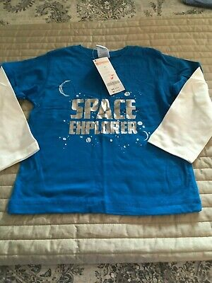 NEW Gymboree Boys Size 2T Turquoise Blue Space Explorer Long Sleeve T-Shirt