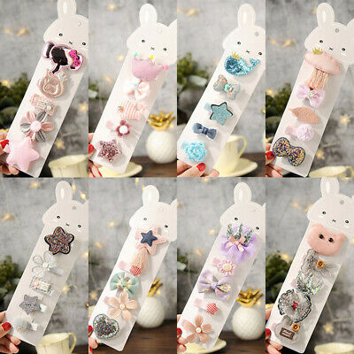 Wholesale 5pcs/Sets Mixed Cartoon Baby Kids Girls HairPin Hair Clips Jewelry