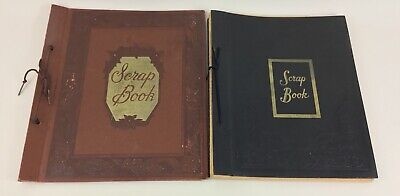 Vintage Scrapbook Lot 2 1940's Album Embossed Black Brown pages No Photos Used
