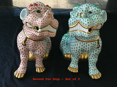 HEREND FOO DOG Fishnet - Pair - Left (rust color), Right (green color)  Large 10
