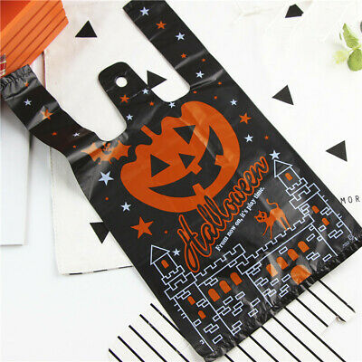 Halloween Plastic Candy Bag 20/50/100 Set with Handle Black Pumpkin Party Gift