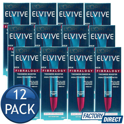 12 x LOREAL ELVIVE FIBRALOGY THICKNESS BOOSTER FOR THICKER HAIR EXPANSION 30mL