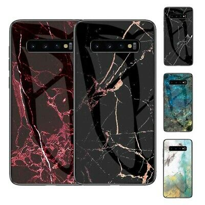 For Samsung Galaxy A10-A70 Marble Tempered Glass Hybrid Hard Phone Case Cover