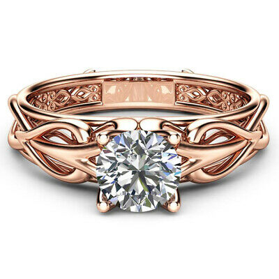 Charm Rose Gold Filled Rings for Women Jewelry White Sapphire Size 6-10