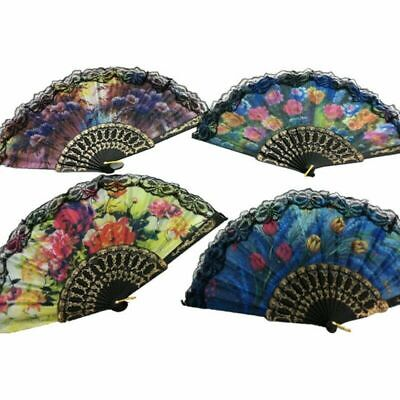 2x Spanish Flora/Oriental Dance Wedding Silk Folding Hand Fan Lace Applied