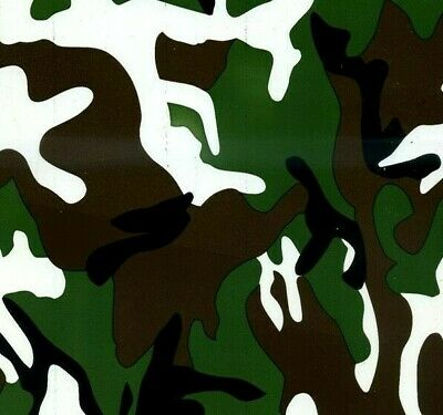 Green camo hydrographic film hydro dipped 100cm width, various lengths Folded