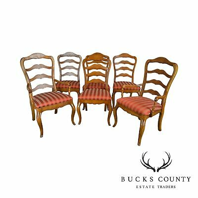 Ethan Allen French Country Style Set 6 Ladder Back Dining Chairs