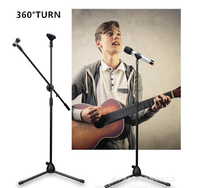 Professional Boom Microphone Mic Stand Holder Adjustable Telescopic 360° Turn UK