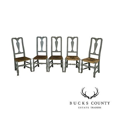 Swedish Provincial Style Antique Set 5 Painted Rush Seat Dining Chairs